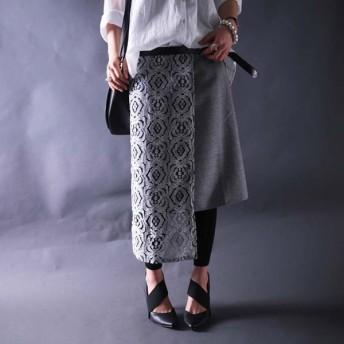 skirtにレースは欠かせない。レースタイトスカート・甘さのなかのオトナ感。『重なるレースでガーリーを創る。』メール便不可