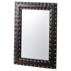 ■在庫限り・入荷なし■ ウォールミラー 鏡 レザー調フレーム 幅50cm×高さ70cm ( 壁掛けミラー クール )