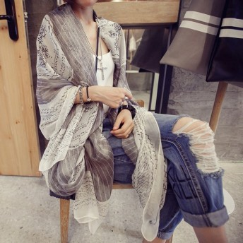 ストール ショール レディース 大判 スカル柄 総柄 プリント デザイン 羽織 冷房対策 小物 カジュアル 3カラー