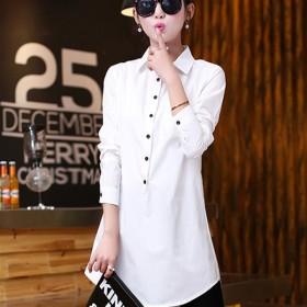 シャツ レディース 長袖 大きいサイズ有 ロング丈 チュニック 起毛 ホワイト ブラック 無地 シンプル トップス プルオーバー S M L XL X