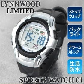 多機能スポーツデジタルウォッチ WATCH 01 軽量モデル 防水仕様 バックライトで夜も見やすい アラーム/ストップウォッチ付  限定セール ◇ メンズ腕時計 M7045