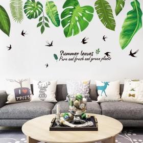 ウォールステッカー 壁紙シール 模様替え 室内装飾 DIY リーフ柄 ロゴ 自然 リビング 子供部屋 寝室 雑貨 壁紙 オシャレ かわいい