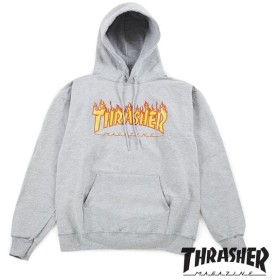【THRASHER/スラッシャー】FLAMES HOODED SWEATERSHIRT パーカー / GRY