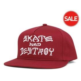 スラッシャー スナップバックキャップ スケート アンド デストロイ レッド 帽子