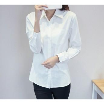 シャツ レディース トップス ブラウス 長袖 ホワイト 無地 ロングシャツ ゆったり 大きいサイズ