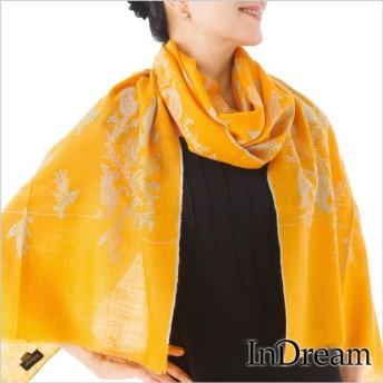パシュミナ刺繍ショール [65cm巾] 黄色(イエロー)k01