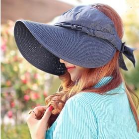 レディース サンバイザー つば広帽子 ぼうし ハット シンプル 無地 おしゃれ 可愛い UVカット 日よけ 携帯 コンパクト 折りたたみ 女性 バイザ