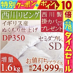 羽毛布団 セミダブル 西川 掛カバーなど豪華特典付 DP350 掛け布団 フランス産ダウン85% 増量1.6kg 日本製