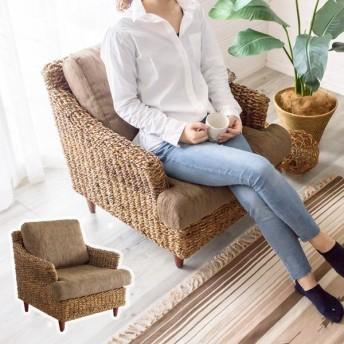 ソファ ソファー 1人掛け 一人掛け 椅子 肘掛 ローソファ アンティーク 木製 アバカソファ アジアン リゾート インテリア アジア工房