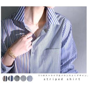 ストライプ合わせの振り切ったデザインでグンを抜く。ストライプシャツ・再再販。##「G」メール便不可