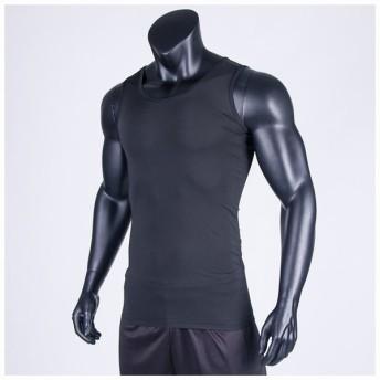 タンクトップ インナー シャツ メンズ フィットネス スポーツ スポーツウェア ドライ トレーニング エクササイズ 無地 ブラック ファッション メン