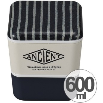 お弁当箱 ANCIENT スクエアネストランチ ストライプ 2段 角型 600ml 保冷剤付 ランチベルト付 ( ランチボックス 弁当箱 入子 )
