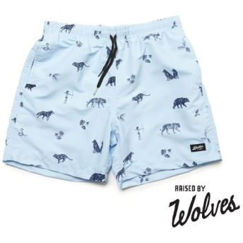 【RAISED BY WOLVES/レイズドバイウルブス】 RBW X BATHER JUNGLE BOOK SWIM TRUNKS ショートパンツ / SKY BLUE/NAVY PRINT