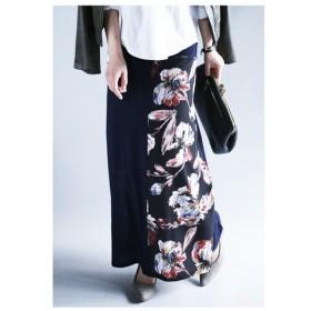揺れるロングスカート。2way花柄リブロングスカート・再再販。お洒落を磨くアートなフラワー。##「G」メール便不可