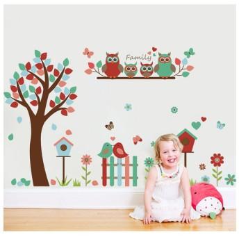 ウォールステッカー ウォールシール 壁シール 壁紙シール 壁面装飾 壁装飾 室内装飾 フクロウ 小鳥 バード お花 フラワー 木 ガーデン お庭 カラ
