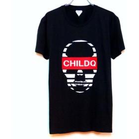 Skull CHILDQ Red Font T-shirt Black