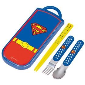 ■在庫限り・入荷なし■トリオセット 箸・フォーク・スプーン スーパーマン スライド式 キャラクター ( 食洗機対応 子供用お箸 カトラリー )