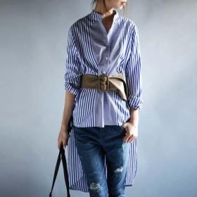 テクいらずのお洒落シャツ。前後差デザインストライプ柄シャツ・新鮮さと驚きの一着。ピッチを変えたstripe柄が目線を奪う。メール便可