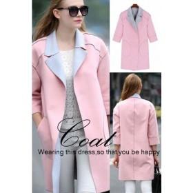 コート レディース 大きいサイズ有 ロングコート ラシャコート 七分袖 配色 ポケット ピンク トップス アウター XL XXL XXXL XXXXL