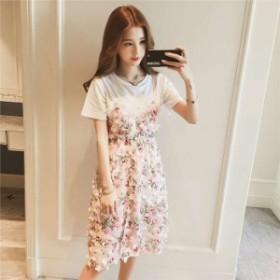 【送料無料】夏の新作♪ レディース Tシャツ ワンピース 2点セット 裏地付き 花柄 半袖 可愛い BTBA604