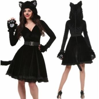 黒猫 女性 コスプレ 衣装 ハロウィン衣装 アニマル コスチューム ウサギ セクシー cos cos-w cos-snk wsc-170809-99
