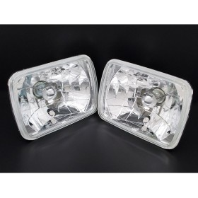 ガラス製 2灯角型ヘッドライト LEDポジション付き 2個セット ミラ L55