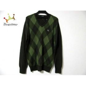 バーバリーブラックレーベル 長袖セーター サイズ2 M メンズ カーキ×グリーン アーガイル   スペシャル特価 20190518