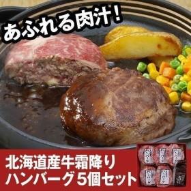 北海道産牛 霜降りハンバーグ5個セット ソース付