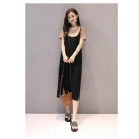 レディースファッション 秋新作 大人可愛いスリングワンピースセット トップスセット ゆったり 大きいサイズ