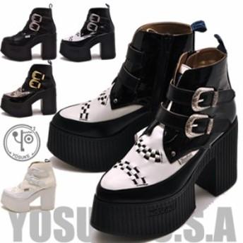 YOSUKE ヨースケ ポインテッドトゥ厚底ブーツ ショート丈 レディース ※(予約)は3営業日内に発送