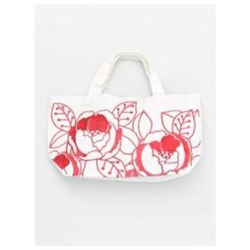 【カヤ】花刺繍ミニトートバッグ ホワイト×レッド