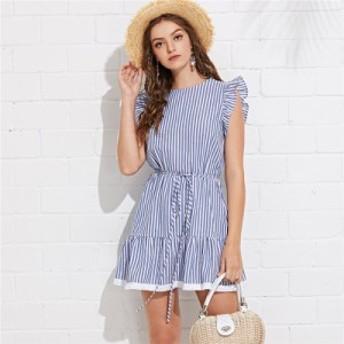 コットンストライプノースリーブフリル裾切り替えワンピース ブルー ドレス ショッピング