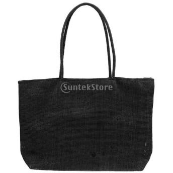 女性 夏 ビーチ ストロー わら ショルダーバッグ トートバッグ 財布 鞄 ギフト 全16色 - ブラック
