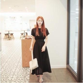 マキシワンピース レディース きれいめ 細身 黒ワンピ 丸首 半袖 シフォンワンピース 韓国風 リゾートワンピース