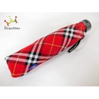 バーバリーブルーレーベル 折りたたみ傘 美品 レッド×黒×白 チェック柄 ナイロン 新着 20170120