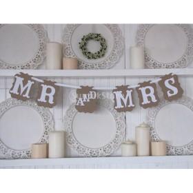 【Mr & Mrs】ペナントバナー 三角 フラッグ イベント お祝い パーティ 結婚式 壁飾り 撮影 小道具 装飾
