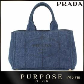 プラダ PRADA カナパ トート バッグ デニム キャンバス ブルー B1877B