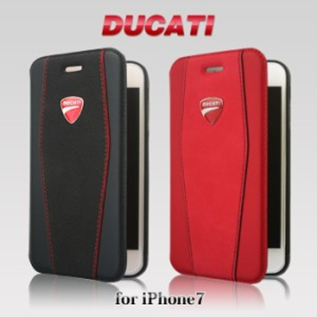 cda2e1fb89 エアージェイ DUCATI 公式ライセンス品 iPhone7ケース 手帳型 本革 アイフォン7ケース ドゥカティ