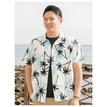 【Kahiko】ハワイアン柄メンズアロハシャツ ホワイト×ブラック
