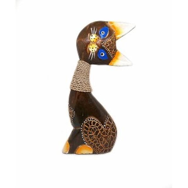木製 バリ ネコ アンティーク B 単品 Mサイズ 木彫り インテリア 猫 置物 アジアン タイ 雑貨 アンティーク