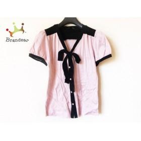 ナネットレポー nanettelepore 半袖シャツブラウス サイズS レディース ピンク×黒 リボン         スペシャル特価 20190423