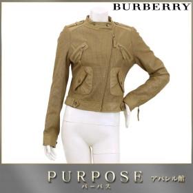 バーバリー ブルーレーベル BURBERRY BLUE LABEL レザー 革 ジャケット ベージュ ブラウン サイズ 38 レディース