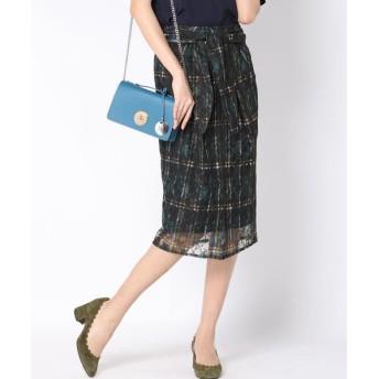 Viaggio Blu / ビアッジョブルー ラッセルレースチェックプリントタイトスカート