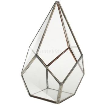 プランター 幾何形 ジューシー ダイヤモンド ガラス 装飾 デコレーション おしゃれ 全12タイプ選べ - 銀, 12×12×17cm