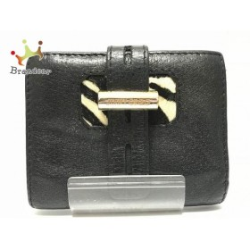 ジミーチュウ JIMMY CHOO 2つ折り財布 - 黒×アイボリー レザー×ハラコ         スペシャル特価 20190416
