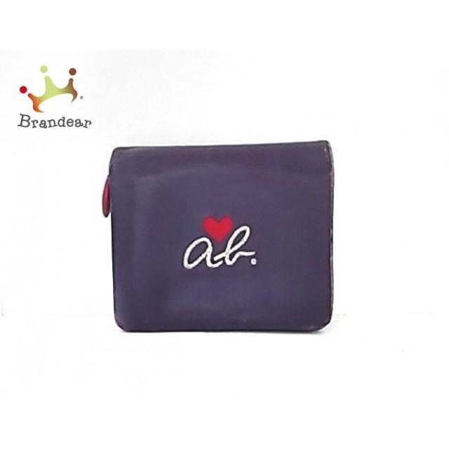 ebf0c3ab7367 アニエスベー agnes b 2つ折り財布 パープル×レッド×シルバー ハート/刺繍 レザー スペシャル