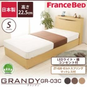 フランスベッド グランディ マットレス付 棚付 一口コンセント付 照明付 LEDライト シングルベッド SC