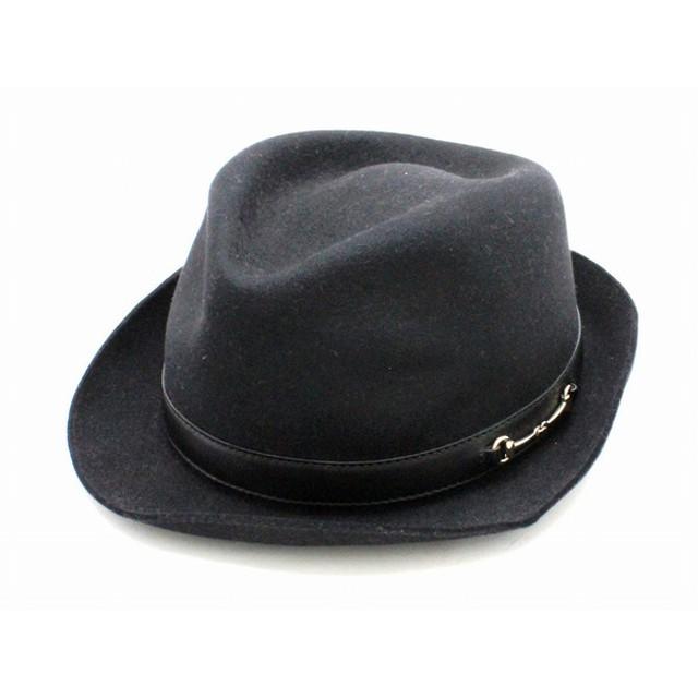 d6a0b49ecaea (アパレル)GUCCI グッチ キャンバス 帽子 ハット ラビットファー Mサイズ レザー ブラック 黒 シルバー