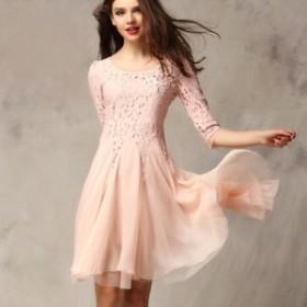 【セール価格】【即納商品】 パール付き レース ワンピース ドレス jfe010906