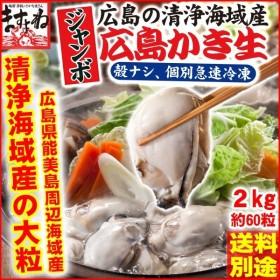 かき カキ 広島県能美島周辺(清浄海域)産ジャンボ牡蠣2kg/約60粒前後 生/剥き身個凍/加熱用/冷凍便/送料別途